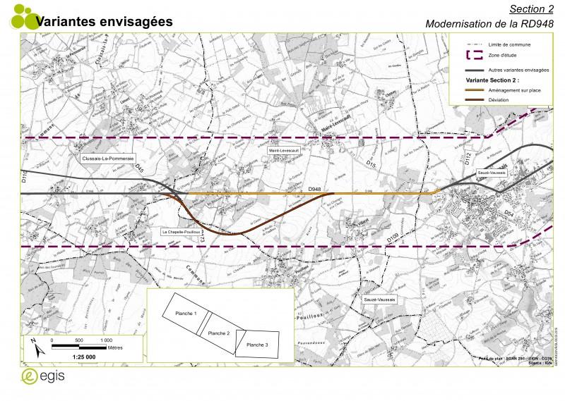 De Clussais à Sauzé-Vaussais - les variantes envisagées